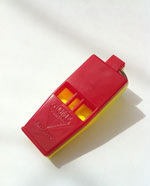 Marine Slimline red and yellow whistle